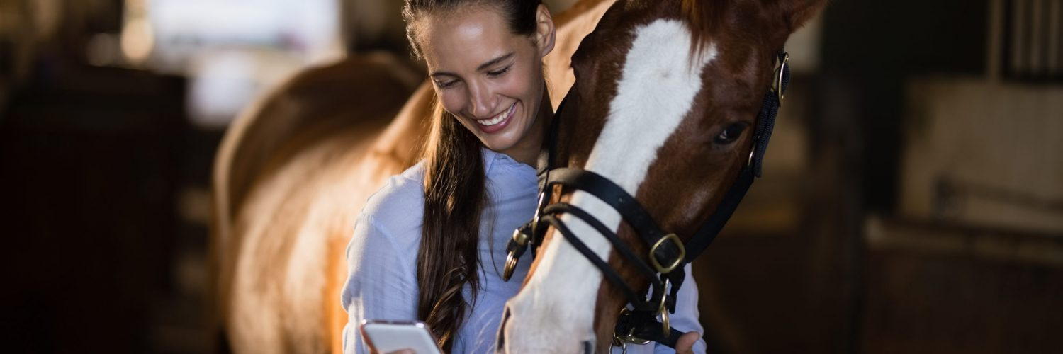 Female vet using mobile phone while standing by horse in stable